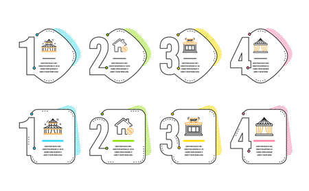 Loan house, Shop and Circus icons simple set. Circus tent sign. Discount percent, Store, Attraction park. Buildings set. Infographic timeline. Line loan house icon. 4 options or steps. Vector Stock Illustratie