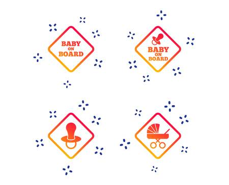 Baby on board icons. Infant caution signs. Child buggy carriage symbol. Random dynamic shapes. Gradient stroller icon. Vector