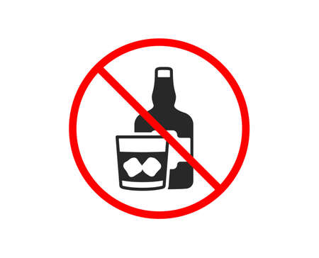 No or Stop. Whiskey glass with ice cubes icon. Scotch alcohol sign. Prohibited ban stop symbol. No whiskey glass icon. Vector