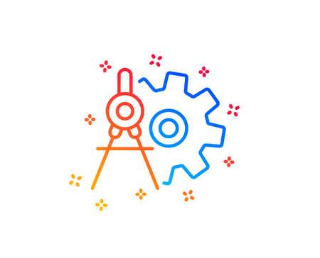 Cogwheel dividers line icon. Engineering tool sign. Cog gear symbol. Gradient design elements. Linear cogwheel dividers icon. Random shapes. Vector