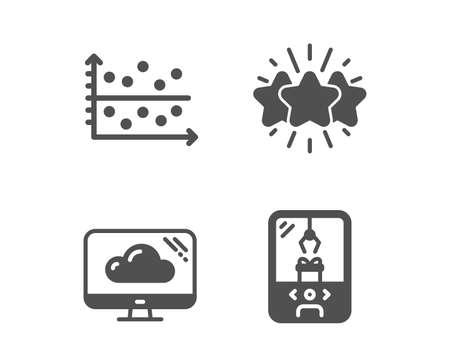 Set of Cloud storage, Dot plot and Star icons. Crane claw machine sign. Computer, Presentation graph, Customer feedback. Attraction park.  Classic design cloud storage icon. Flat design. Vector