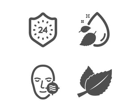 Set of Problem skin, 24 hours and Water drop icons. Mint leaves sign. Facial care, Protection, Serum oil. Mentha herbal.  Classic design problem skin icon. Flat design. Vector