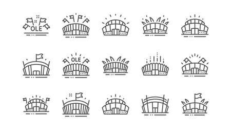 Icônes de ligne de stade de sport. Ole chant, football d'arène, architecture de championnat. Stade Arena, compétition sportive, icônes de drapeau d'événement. Ensemble linéaire complexe sportif. Vecteur