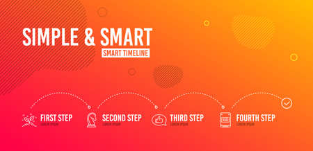 Infographic timeline. Marketing strategy, Feedback and Startup concept icons simple set. Ssd sign. Chess knight, Speech bubble, Launch project. Solid-state drive. Business set. 4 steps layout. Vector Illustration
