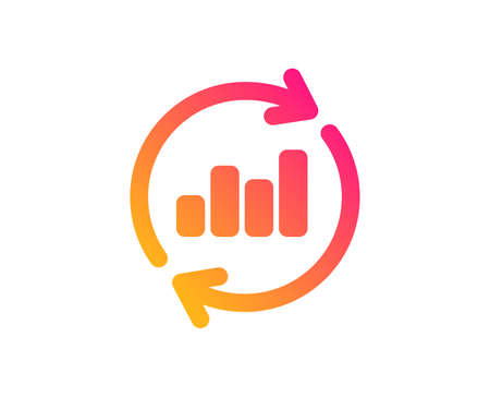 Chart icon. Update Report graph or Sales growth sign. Analysis and Statistics data symbol. Classic flat style. Gradient update data icon. Vector
