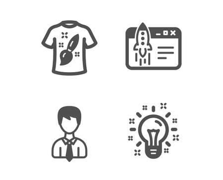 Set of Start business, T-shirt design and Businessman icons. Idea sign. Launch idea, Painting, User data. Creativity.  Classic design start business icon. Flat design. Vector
