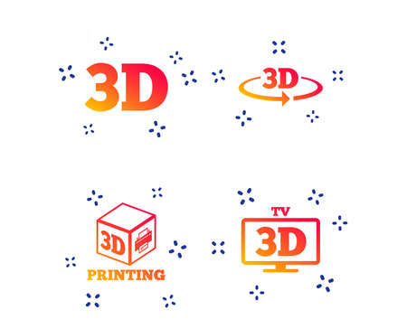 3d technology icons. Printer, rotation arrow sign symbols. Print cube. Random dynamic shapes. Gradient 3d icon. Vector