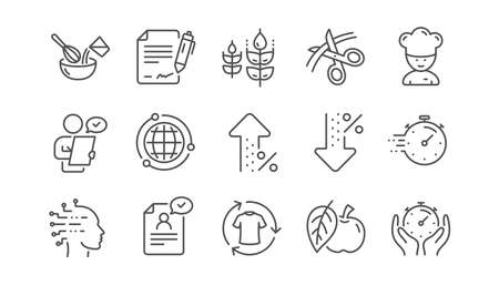 Chef hat, Customer survey, Approved application line icons. Scissors cutting, Artificial intelligence icons. Interest rate, gluten free. Linear set. Vector Illustration