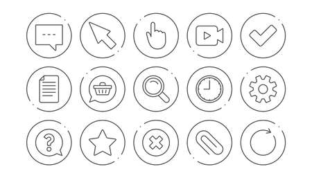 Document, Time and Question mark line icons. Search, Video camera and Check mark. Linear icon set. Line buttons with icon. Editable stroke. Vector