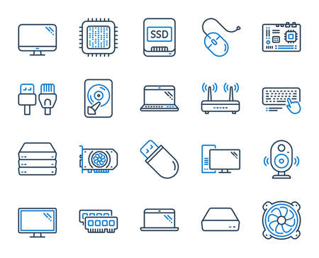 Computer components, Laptop, SSD line icons. Motherboard, CPU, Internet cables icons. Wifi router, computer monitor, Graphic card. Keyboard, SSD device. Internet cables, laptop components. Vector Illustration