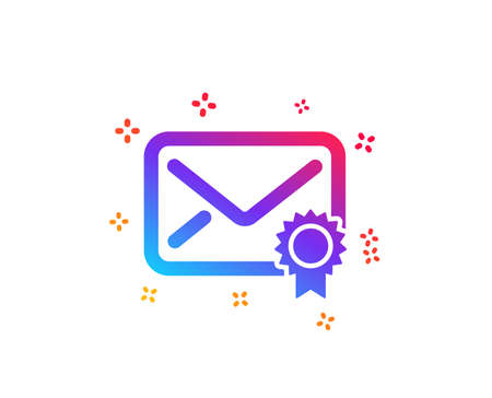Verified Mail icon. Confirmed Message correspondence sign. E-mail symbol. Dynamic shapes. Gradient design verified Mail icon. Classic style. Vector Vectores