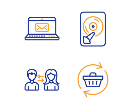 E-mail, Hdd and People communication icons simple set. Refresh cart sign. New message, Memory disk, People talking. Online shopping. Business set. Linear e-mail icon. Colorful design set. Vector