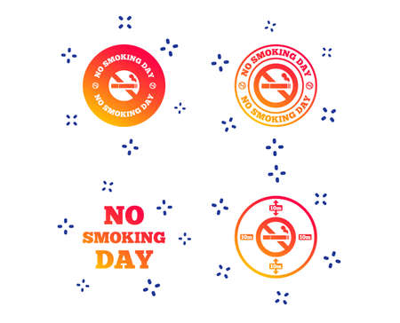 No smoking day icons. Against cigarettes signs. Quit or stop smoking symbols. Random dynamic shapes. Gradient smoking icon. Vector 向量圖像