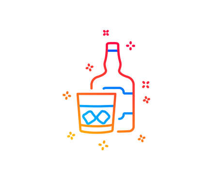 Whiskey glass with ice cubes line icon. alcohol sign. Gradient design elements. Linear whiskey glass icon. Random shapes. Vector  イラスト・ベクター素材