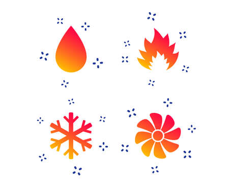 HVAC icons. Heating, ventilating and air conditioning symbols. Water supply. Climate control technology signs. Random dynamic shapes. Gradient ventilation icon. Vector Stock Illustratie