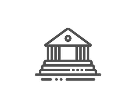 Court building line icon. City architecture sign. Courthouse, government symbol. Quality design element. Linear style court building icon. Editable stroke. Vector Standard-Bild - 126906984