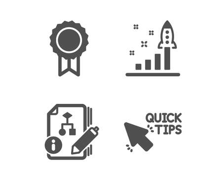 Set of Algorithm, Development plan and Reward icons. Quick tips sign. Project, Strategy, Best medal. Helpful tricks.  Classic design algorithm icon. Flat design. Vector