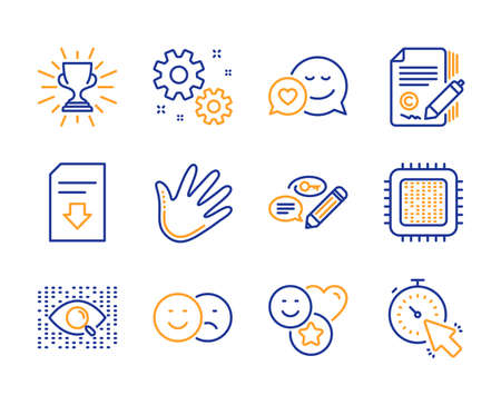 Download file, Copywriting and Like icons simple set. Artificial intelligence, Work and Smile signs. Dating, Cpu processor and Trophy symbols. Keywords, Hand and Timer. Line download file icon