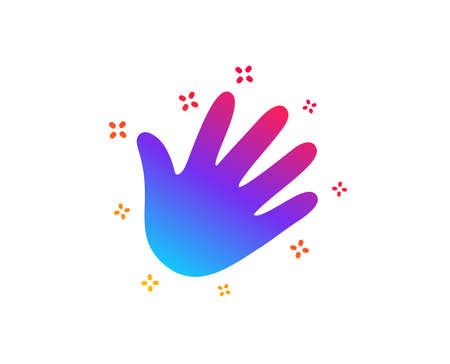 Hand wave icon. Palm sign. Dynamic shapes. Gradient design hand icon. Classic style. Vector
