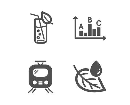 Set of Train, Water glass and Survey results icons. Leaf dew sign. Tram, Soda drink, Best answer. Water drop.  Classic design train icon. Flat design. Vector