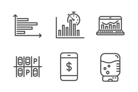 Report timer, Horizontal chart and Smartphone payment icons simple set. Parking place, Web analytics and Water cooler signs. Growth chart, Presentation graph. Technology set. Line report timer icon