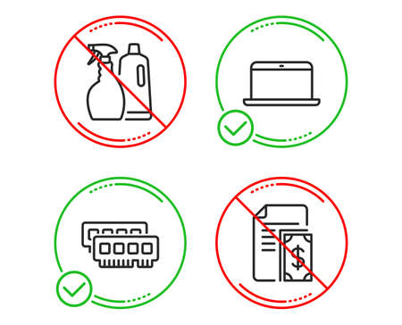 Do or Stop. Ram, Shampoo and spray and Laptop icons simple set. Payment sign. Random-access memory, Washing liquids, Mobile computer. Cash money. Line ram do icon. Prohibited ban stop. Good or bad