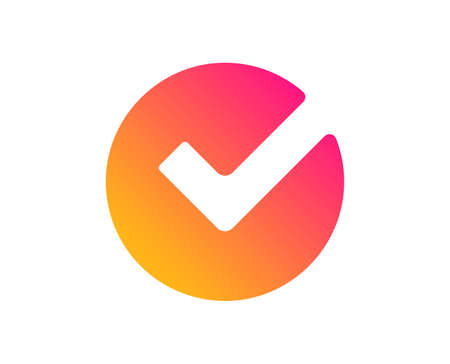 Check icon. Approved Tick sign. Confirm, Done or Accept symbol. Classic flat style. Gradient verify icon. Vector Illustration
