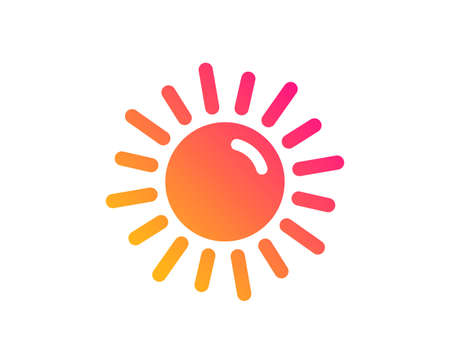 Sun icon. Hot weather sign. Summer symbol. Classic flat style. Gradient sun icon. Vector