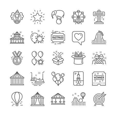 Amusement park line icons. Set of Circus, Carousel and Roller coaster icons. Air balloon, Crane claw machine and Fastpass symbols. Circus amusement park tickets. Ferris wheel carousel. Vector