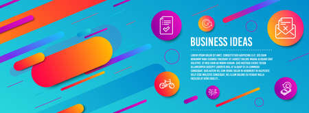 Header banner. Approved checklist, Reject letter and Airplane travel icons simple set. Bicycle, Reload and Cashback signs. Accepted message, Delete mail. Business set. Line approved checklist icon