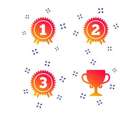 First, second and third place icons. Award medals sign symbols. Prize cup for winner. Random dynamic shapes. Gradient award icon. Vector