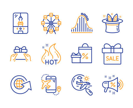 Ferris wheel, Roller coaster and Sale offer icons simple set. Crane claw machine, Shopping and World globe signs. Search flight, Hat-trick and Flight destination symbols. Line ferris wheel icon