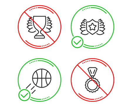 Do or Stop. Winner, Laureate and Basketball icons simple set. Medal sign. Sports achievement, Award shield, Sport ball. Winner. Sports set. Line winner do icon. Prohibited ban stop. Good or bad