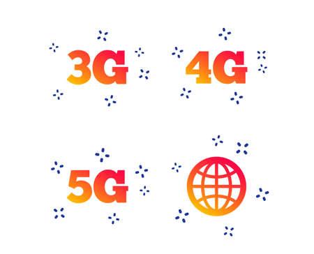 Iconos de telecomunicaciones móviles. Símbolos de tecnología 3G, 4G y 5G. Signo de globo del mundo. Formas dinámicas aleatorias. Icono de tecnología de degradado. Vector