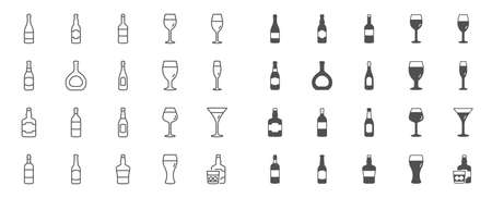 Wine bottle line icons. Set of Craft beer, Whiskey and Wine glass icons. Champagne bottle, Alcohol drink and with ice. Wineglass, Beer glass and Restaurant goblet signs. Beverage drink. Vector Illustration