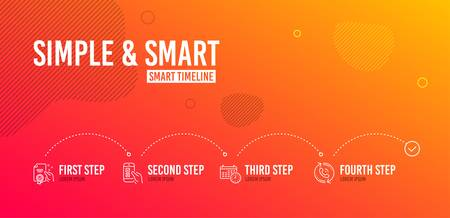 Infographic timeline. Certificate, Calendar and Mobile survey icons simple set. Call center sign. Certified guarantee, Time, Phone quiz test. Recall. Technology set. 4 steps layout. Vector