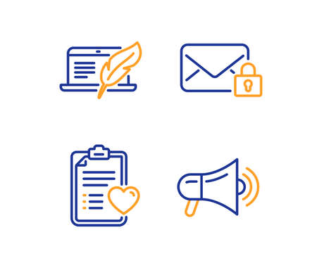 Copyright laptop, Patient history and Secure mail icons simple set. Megaphone sign. Writer device, Medical survey, Private e-mail. Advertisement. Business set. Linear copyright laptop icon. Vector Illustration