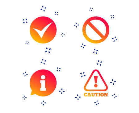 Information icons. Stop prohibition and attention caution signs. Approved check mark symbol. Random dynamic shapes. Gradient information icon. Vector