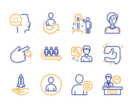 Queue, Repairman and Avatar icons simple set. Share, Like and Businesswoman person signs. Blood donation, Good mood and Security symbols. Creative idea, Crowdfunding and Presentation time. Vector Çizim