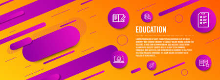 Header banner. E-mail, Feedback and International Ð¡opyright icons simple set. Startup rocket, Checklist and Read instruction signs. New message, Book with pencil. Education set. Line e-mail icon Illustration