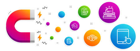 Magnet attracting. Rfp, Accounting report and Quiz test icons simple set. Send mail, Typewriter and Tablet pc signs. Request for proposal, Check finance. Education set. Line rfp icon. Vector Stock Vector - 126909564
