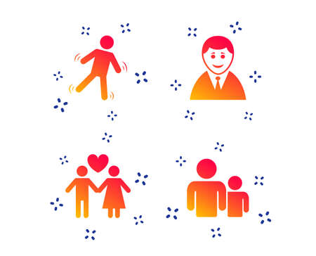 Businessman person icon. Group of people symbol. Man love Woman or Lovers sign. Caution slippery. Random dynamic shapes. Gradient people icon. Vector