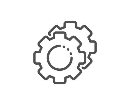 Settings gears line icon. Cogwheel sign. Working process symbol. Quality design element. Linear style settings gears icon. Editable stroke. Vector