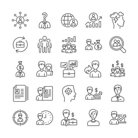 Human Resources, head hunting line icons. Job Interview, Business networking contract and Head Hunting contract icons. CV, Teamwork and Portfolio symbols. Business career, human, interview. Vector