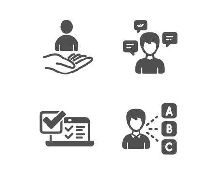 Set of Conversation messages, Online survey and Recruitment icons. Opinion sign. Communication, Quiz test, Hr. Choose answer.  Classic design conversation messages icon. Flat design. Vector Illustration
