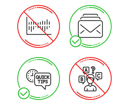 Do or Stop. Column diagram, Quick tips and Mail icons simple set. Quiz test sign. Sale statistics, Helpful tricks, New messages. Interview. Education set. Line column diagram do icon. Vector