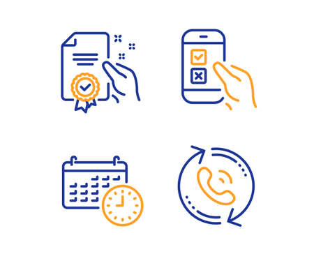 Certificate, Calendar and Mobile survey icons simple set. Call center sign. Certified guarantee, Time, Phone quiz test. Recall. Technology set. Linear certificate icon. Colorful design set. Vector Çizim