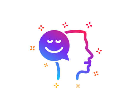 Positive thinking icon. Human communication symbol. Smile chat sign. Dynamic shapes. Gradient design good mood icon. Classic style. Vector