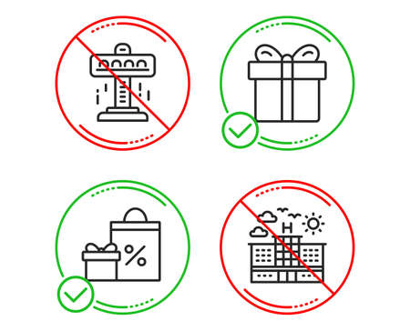 Do or Stop. Attraction, Gift box and Shopping icons simple set. Hotel sign. Free fall, Present package, Gifts and sales. Travel. Holidays set. Line attraction do icon. Prohibited ban stop. Good or bad Illustration