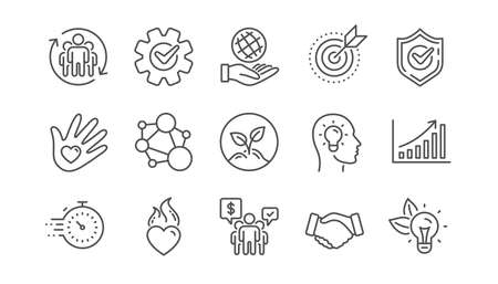 Core values line icons. Integrity, Target purpose and Strategy. Trust handshake, social responsibility, commitment goal icons. Linear set. Vector Illustration